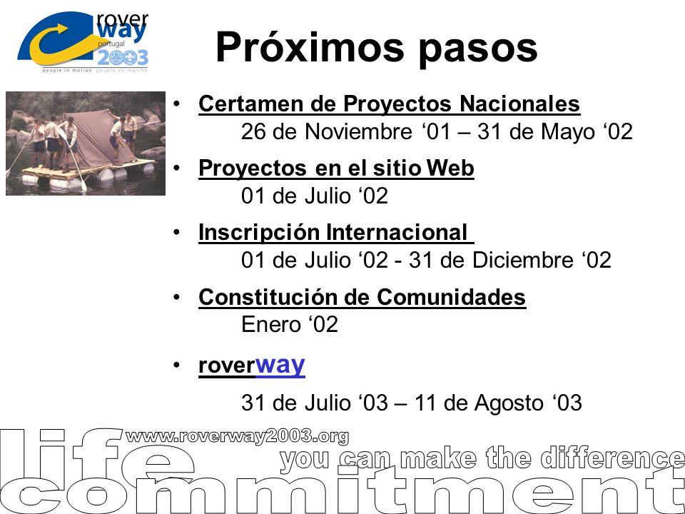 Próximos pasos Certamen de Proyectos Nacionales 26 de Noviembre 01 – 31 de Mayo 02 Proyectos en el sitio Web 01 de Julio 02 Inscripción Internacional