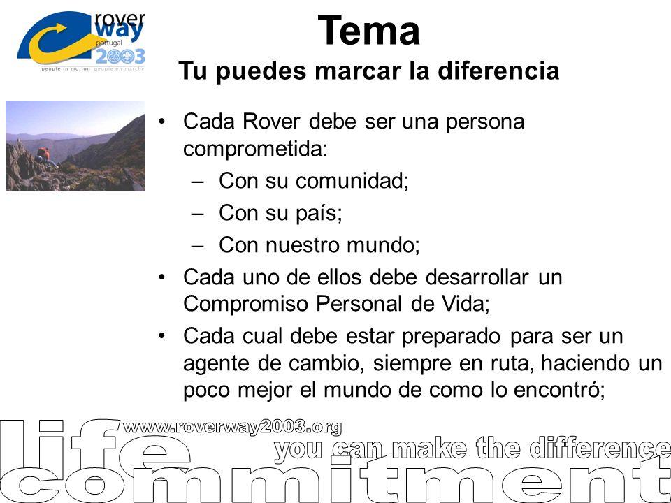Tema Tu puedes marcar la diferencia Cada Rover debe ser una persona comprometida: – Con su comunidad; – Con su país; – Con nuestro mundo; Cada uno de