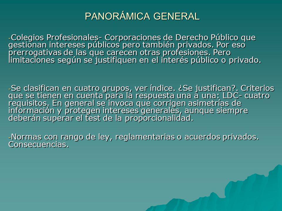 PANORÁMICA GENERAL PANORÁMICA GENERAL - Colegios Profesionales- Corporaciones de Derecho Público que gestionan intereses públicos pero también privado