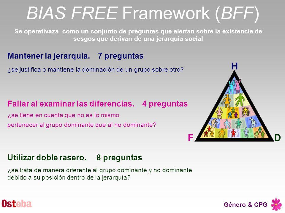 Género & CPG BIAS FREE Framework (BFF) Se operativaza como un conjunto de preguntas que alertan sobre la existencia de sesgos que derivan de una jerar