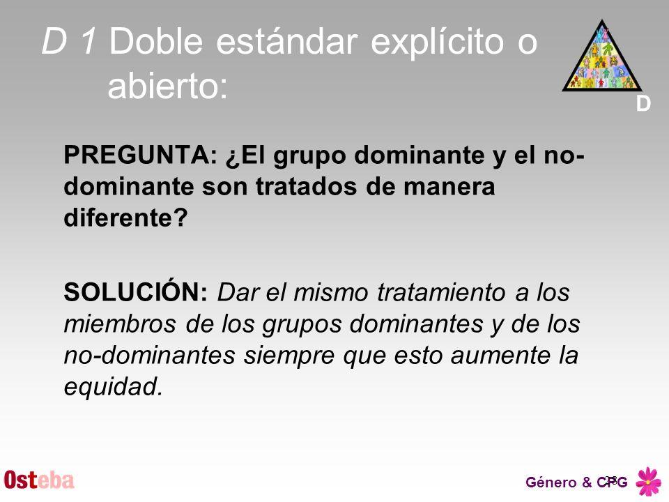 Género & CPG 28 D 1 Doble estándar explícito o abierto: PREGUNTA: ¿El grupo dominante y el no- dominante son tratados de manera diferente? SOLUCIÓN: D