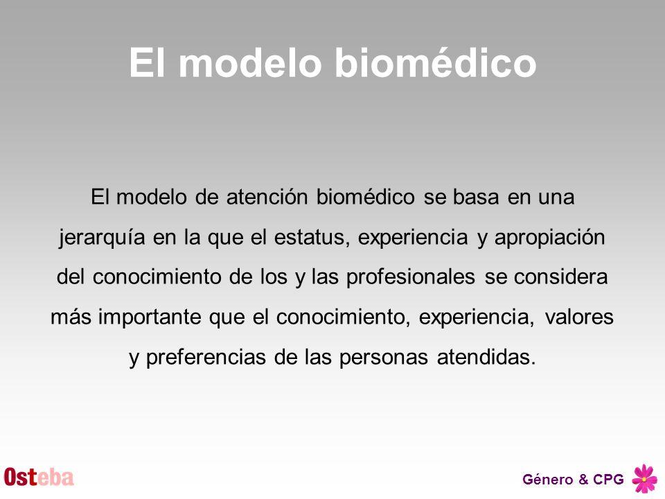 Género & CPG El modelo biomédico El modelo de atención biomédico se basa en una jerarquía en la que el estatus, experiencia y apropiación del conocimi