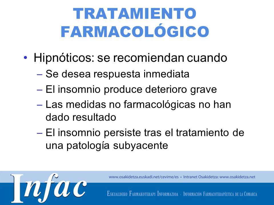 http://www.osakidetza.euskadi.net TRATAMIENTO FARMACOLÓGICO Hipnóticos: se recomiendan cuando –Se desea respuesta inmediata –El insomnio produce deter