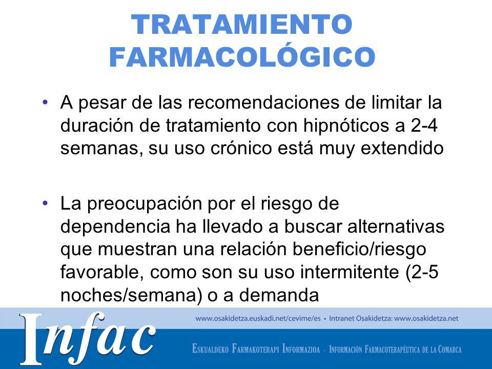 http://www.osakidetza.euskadi.net TRATAMIENTO FARMACOLÓGICO A pesar de las recomendaciones de limitar la duración de tratamiento con hipnóticos a 2-4