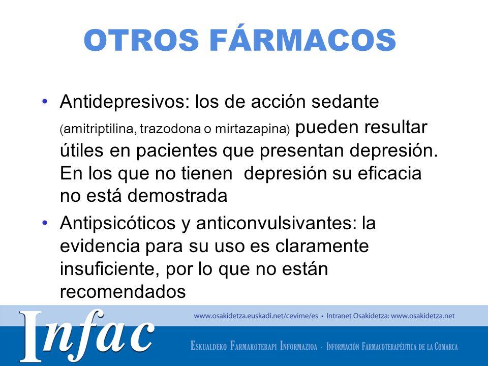 http://www.osakidetza.euskadi.net OTROS FÁRMACOS Antidepresivos: los de acción sedante ( amitriptilina, trazodona o mirtazapina ) pueden resultar útil