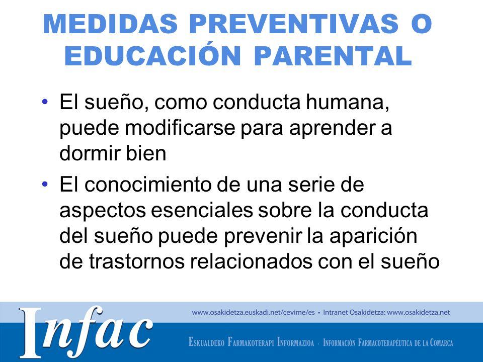 http://www.osakidetza.euskadi.net MEDIDAS PREVENTIVAS O EDUCACIÓN PARENTAL El sueño, como conducta humana, puede modificarse para aprender a dormir bi