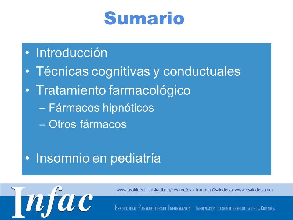 http://www.osakidetza.euskadi.net Sumario Introducción Técnicas cognitivas y conductuales Tratamiento farmacológico –Fármacos hipnóticos –Otros fármac