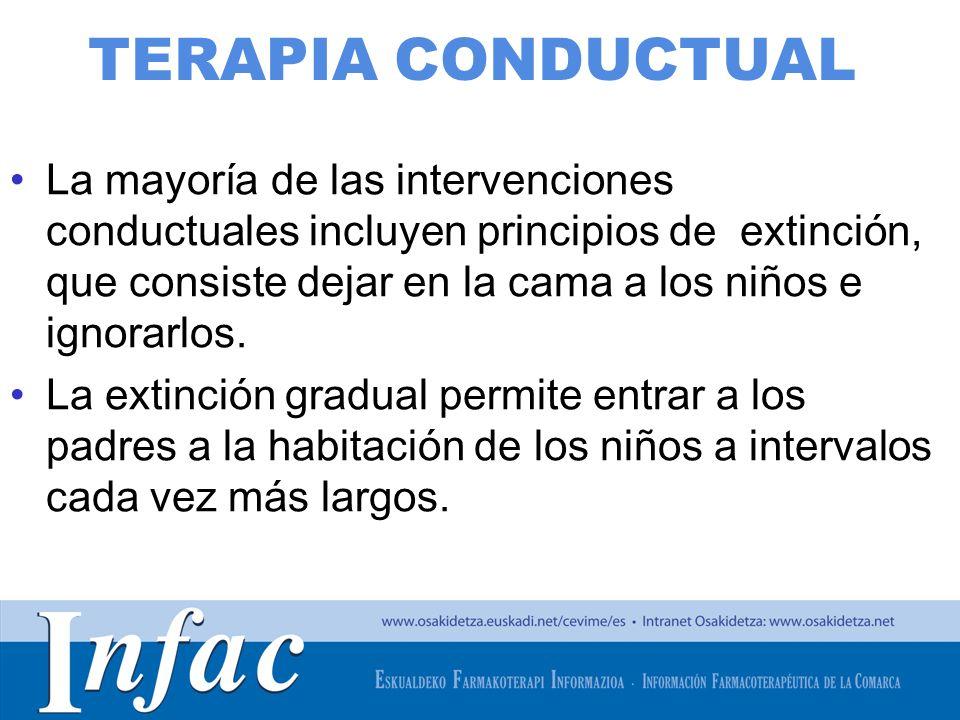http://www.osakidetza.euskadi.net TERAPIA CONDUCTUAL La mayoría de las intervenciones conductuales incluyen principios de extinción, que consiste deja