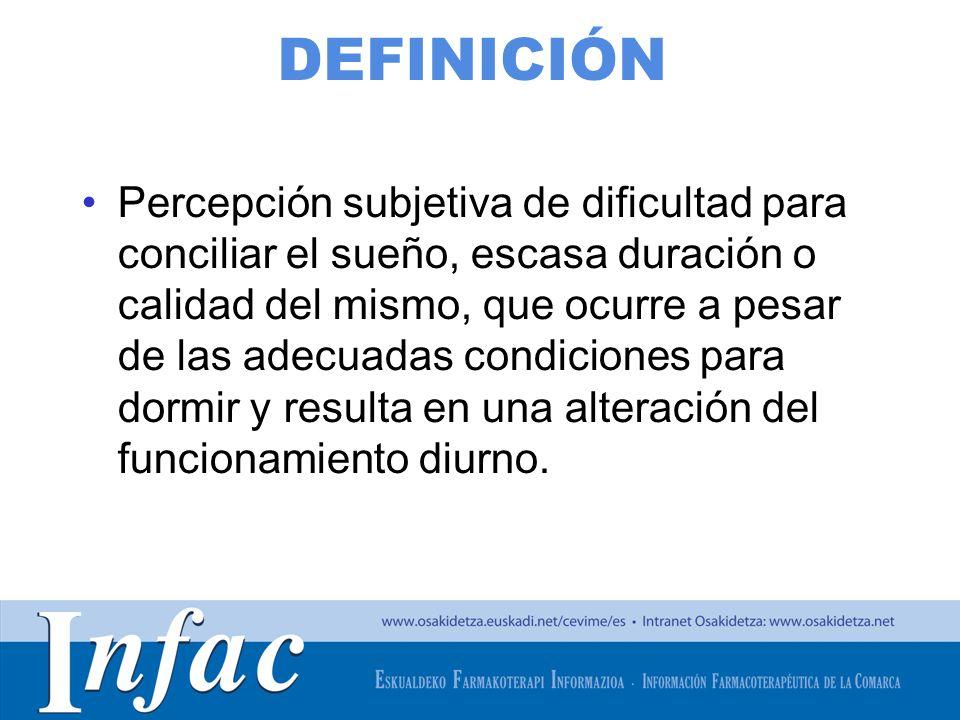 http://www.osakidetza.euskadi.net DEFINICIÓN Percepción subjetiva de dificultad para conciliar el sueño, escasa duración o calidad del mismo, que ocur