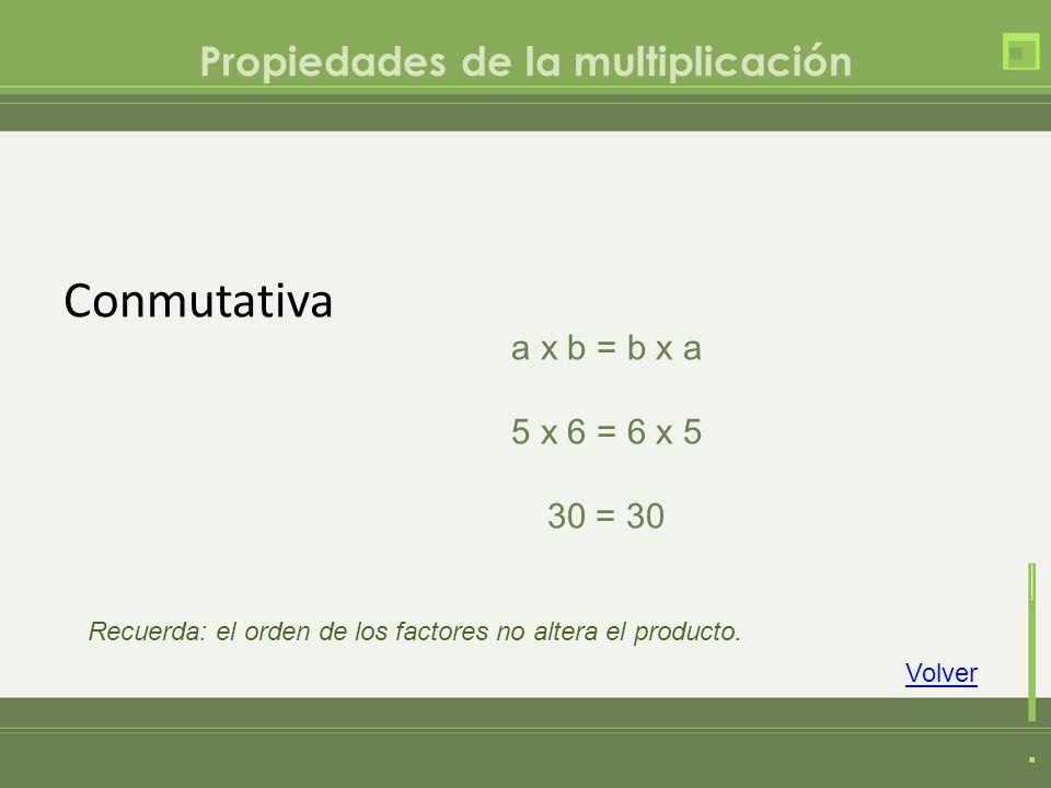 Propiedades de la multiplicación Conmutativa a x b = b x a 5 x 6 = 6 x 5 30 = 30 Volver Recuerda: el orden de los factores no altera el producto.