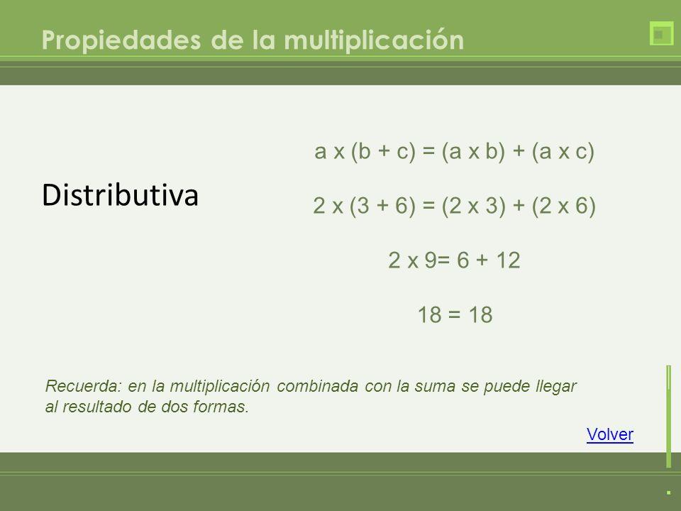 Distributiva Propiedades de la multiplicación Volver a x (b + c) = (a x b) + (a x c) 2 x (3 + 6) = (2 x 3) + (2 x 6) 2 x 9= 6 + 12 18 = 18 Recuerda: e