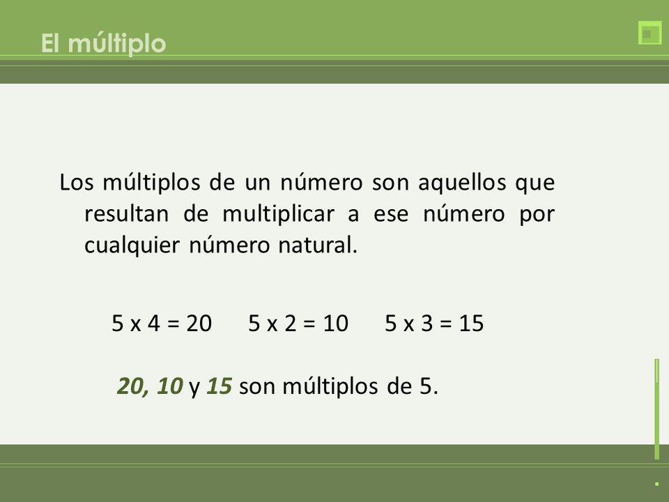 El múltiplo Los múltiplos de un número son aquellos que resultan de multiplicar a ese número por cualquier número natural. 5 x 4 = 20 5 x 2 = 10 5 x 3