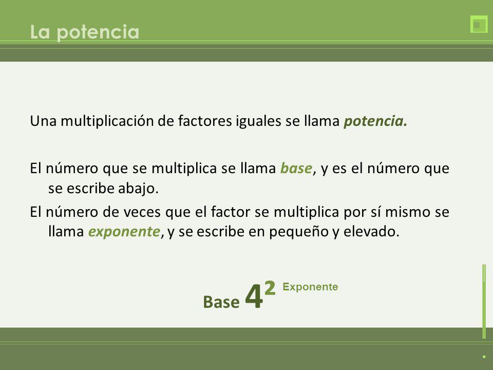 La potencia Una multiplicación de factores iguales se llama potencia. El número que se multiplica se llama base, y es el número que se escribe abajo.