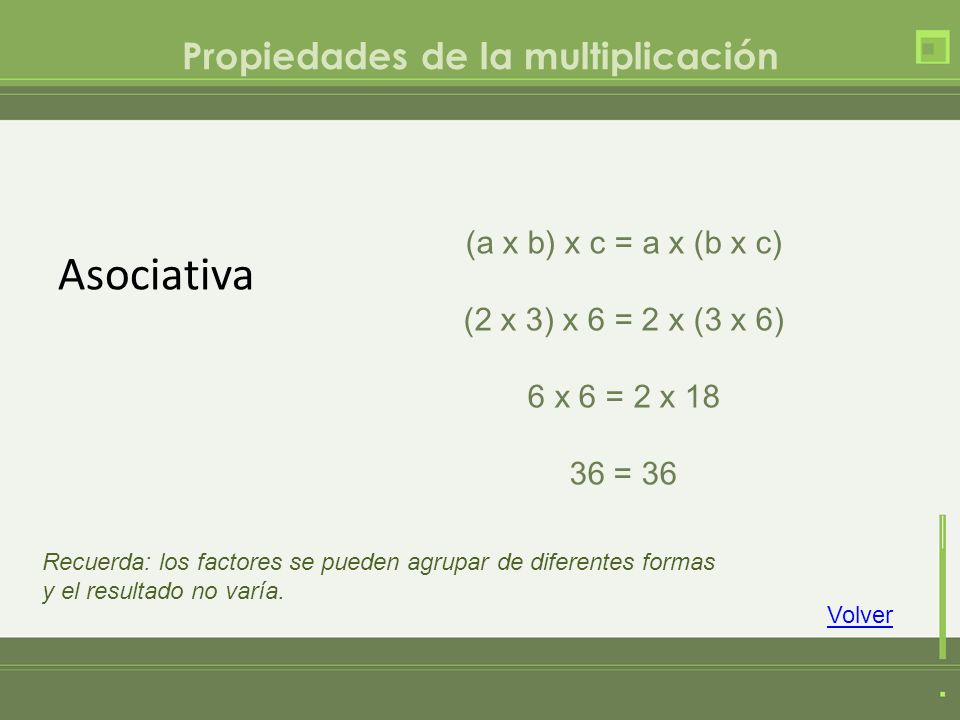 Propiedades de la multiplicación Asociativa (a x b) x c = a x (b x c) (2 x 3) x 6 = 2 x (3 x 6) 6 x 6 = 2 x 18 36 = 36 Volver Recuerda: los factores s
