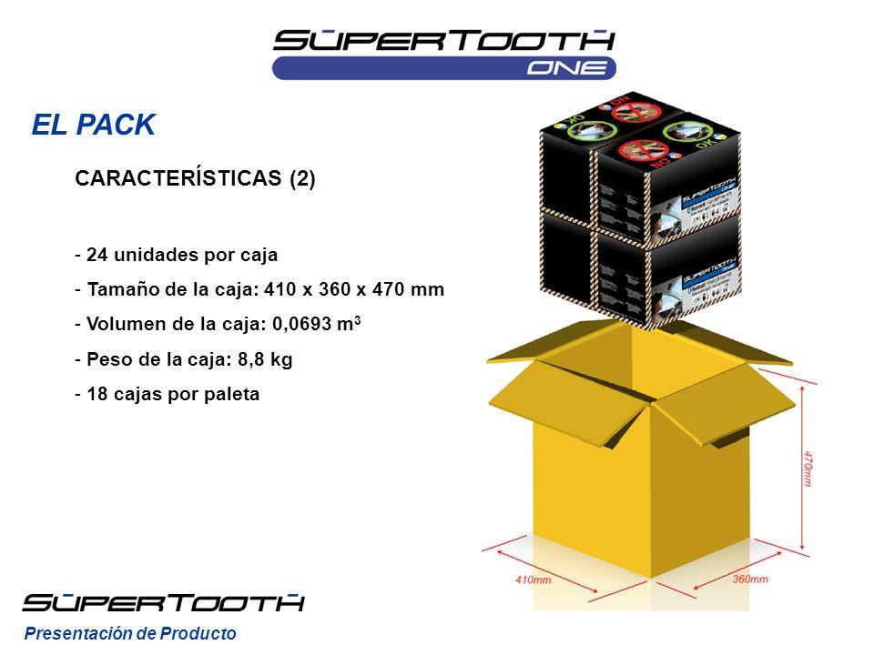 EL PACK Presentación de Producto CARACTERÍSTICAS (2) - 24 unidades por caja - Tamaño de la caja: 410 x 360 x 470 mm - Volumen de la caja: 0,0693 m 3 -