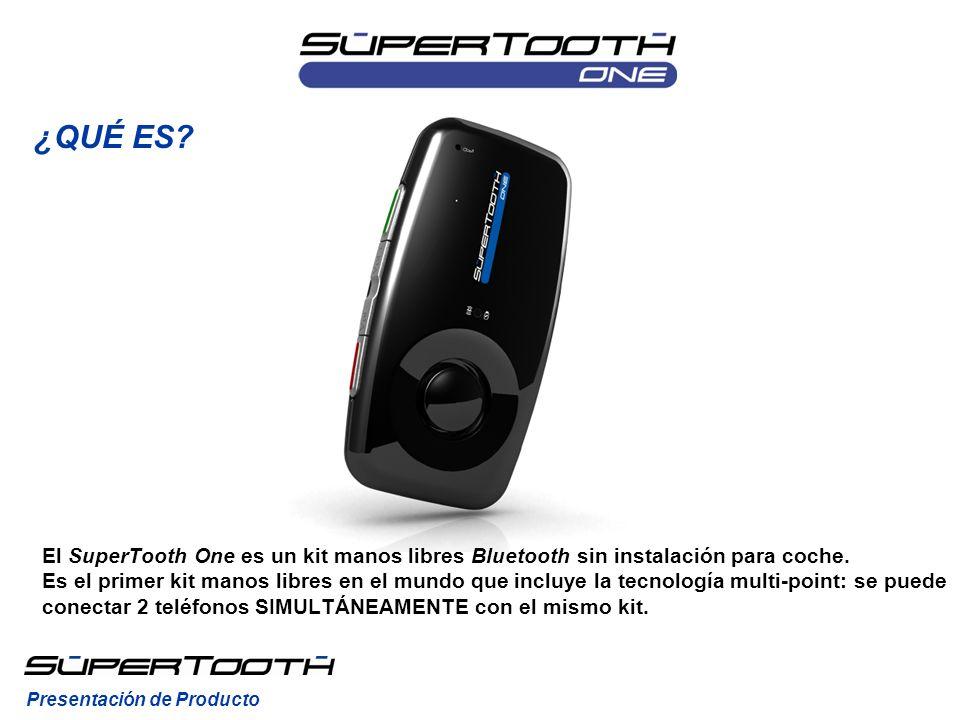 El SuperTooth One es un kit manos libres Bluetooth sin instalación para coche. Es el primer kit manos libres en el mundo que incluye la tecnología mul