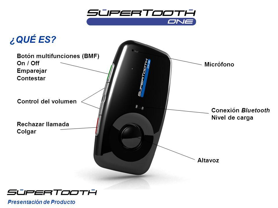 Altavoz Control del volumen Botón multifunciones (BMF) On / Off Emparejar Contestar Rechazar llamada Colgar Conexión Bluetooth Nivel de carga Micrófon