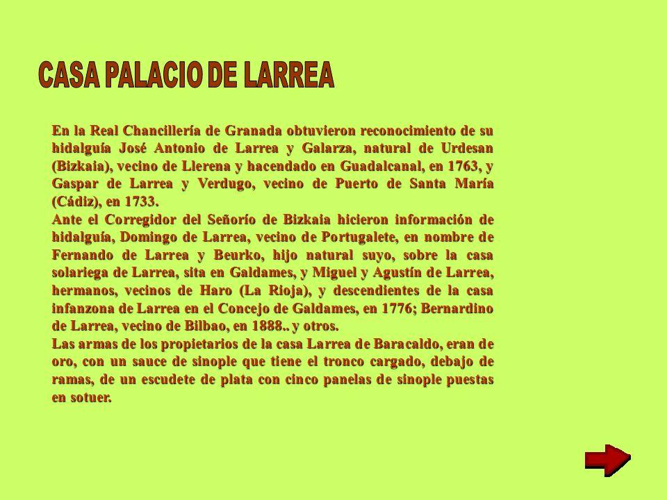 Historia de la familia Larrea en Bizkaia, nombrando la casa de Baracaldo. Fueron muchas en Bizkaia las casas de Larrea, siendo una de las principales