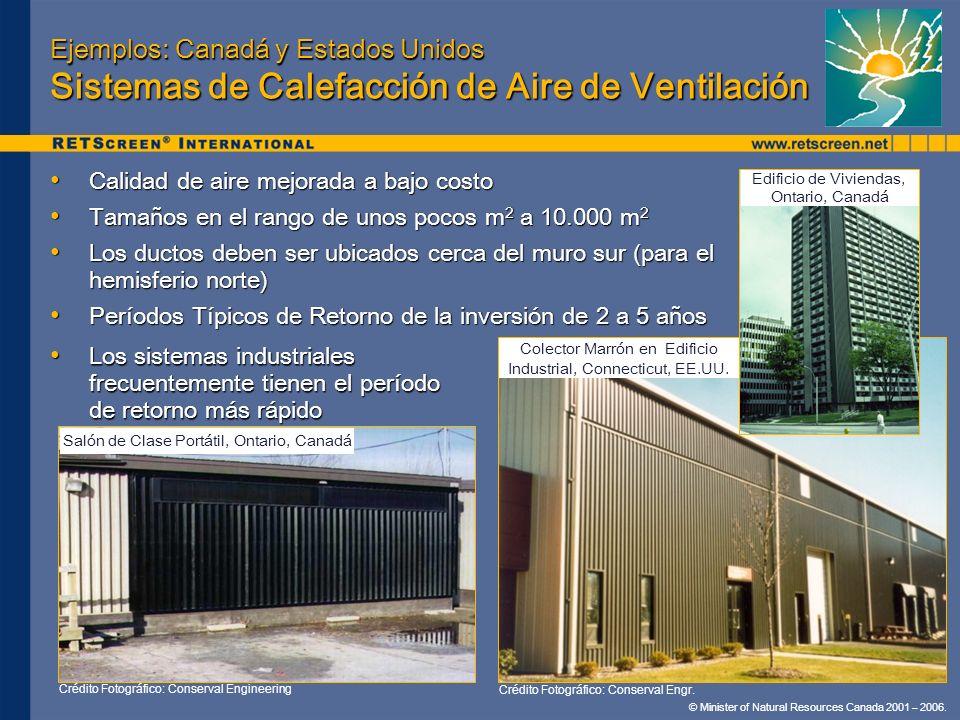 © Minister of Natural Resources Canada 2001 – 2006. Ejemplos: Canadá y Estados Unidos Sistemas de Calefacción de Aire de Ventilación Calidad de aire m