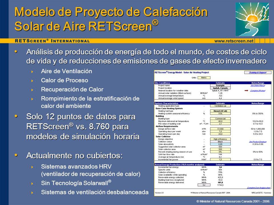 © Minister of Natural Resources Canada 2001 – 2006. Modelo de Proyecto de Calefacción Solar de Aire RETScreen ® Análisis de producción de energía de t