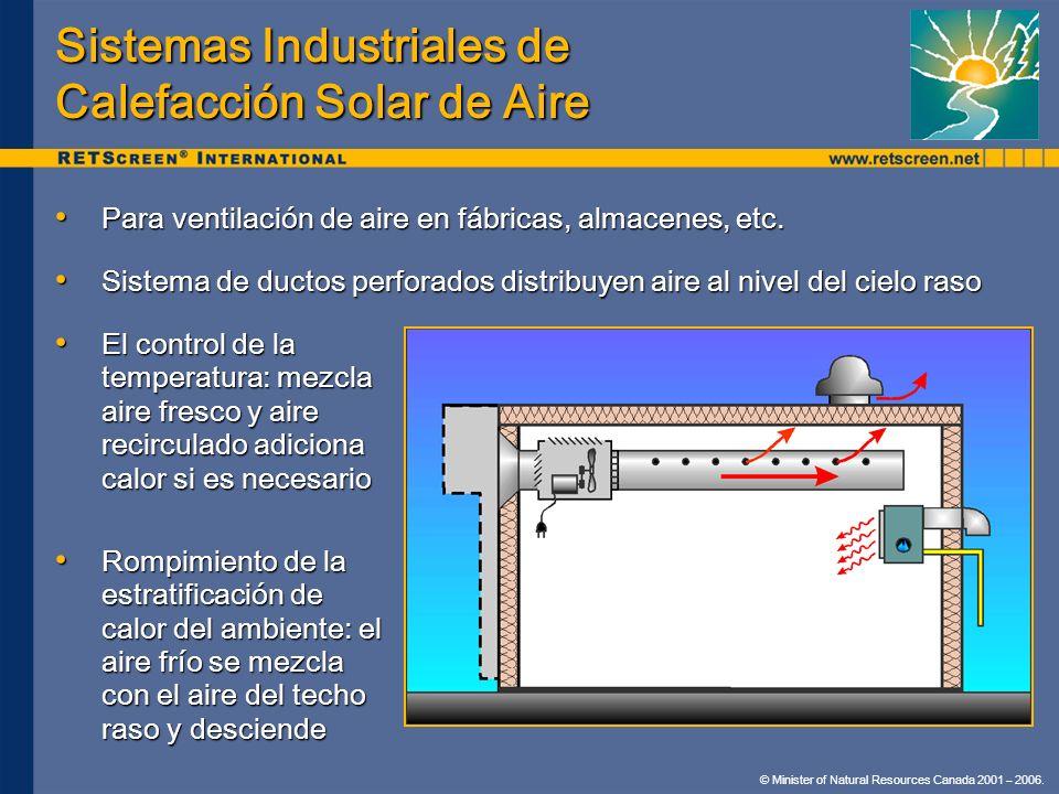 © Minister of Natural Resources Canada 2001 – 2006. Sistemas Industriales de Calefacción Solar de Aire El control de la temperatura: mezcla aire fresc