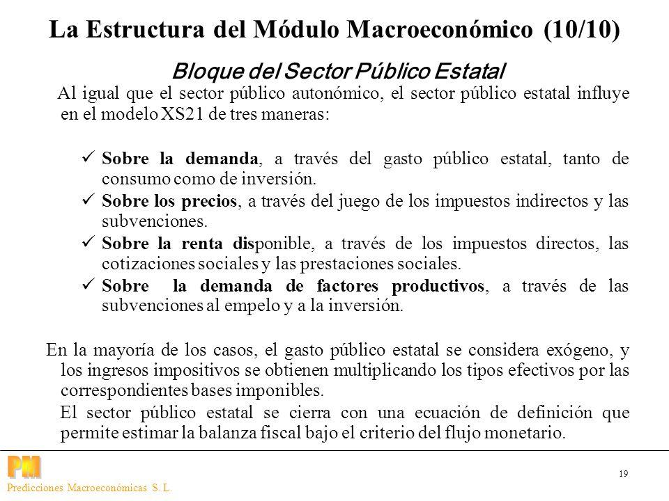 19 Predicciones Macroeconómicas S. L. Al igual que el sector público autonómico, el sector público estatal influye en el modelo XS21 de tres maneras: