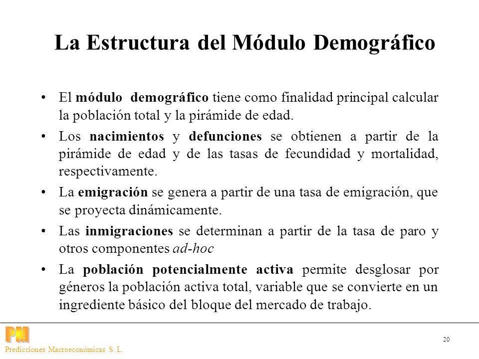 20 Predicciones Macroeconómicas S. L. El módulo demográfico tiene como finalidad principal calcular la población total y la pirámide de edad. Los naci