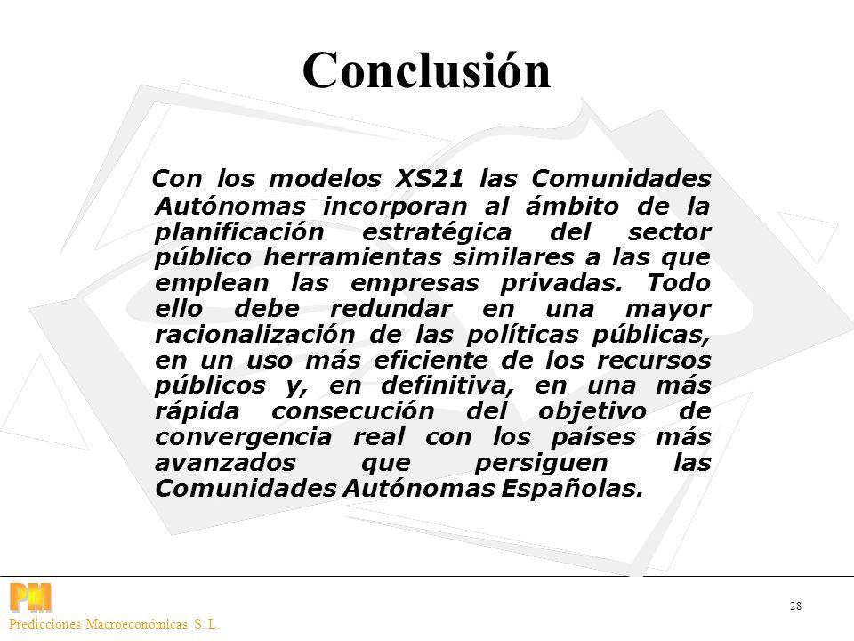 28 Predicciones Macroeconómicas S. L. Conclusión Con los modelos XS21 las Comunidades Autónomas incorporan al ámbito de la planificación estratégica d