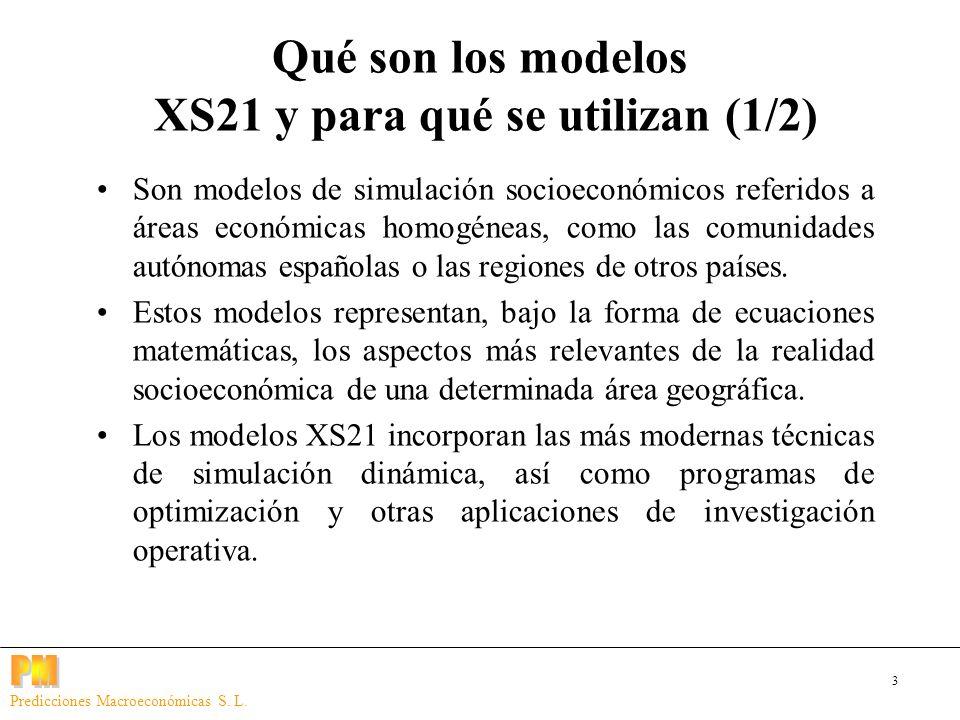 3 Predicciones Macroeconómicas S. L. Qué son los modelos XS21 y para qué se utilizan (1/2) Son modelos de simulación socioeconómicos referidos a áreas