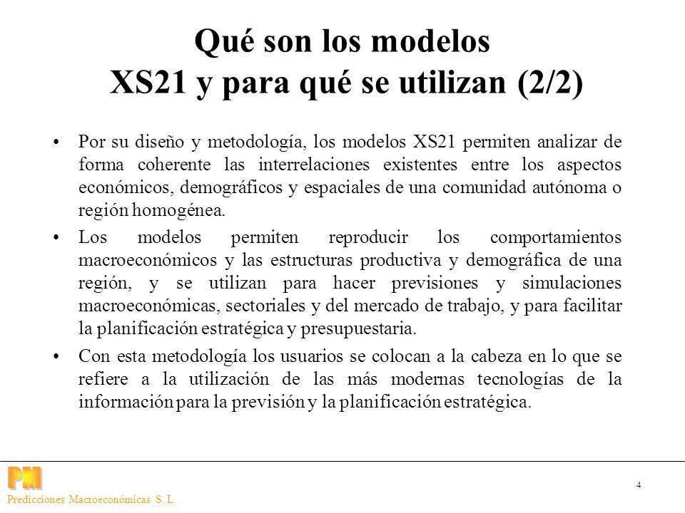 4 Predicciones Macroeconómicas S. L. Por su diseño y metodología, los modelos XS21 permiten analizar de forma coherente las interrelaciones existentes