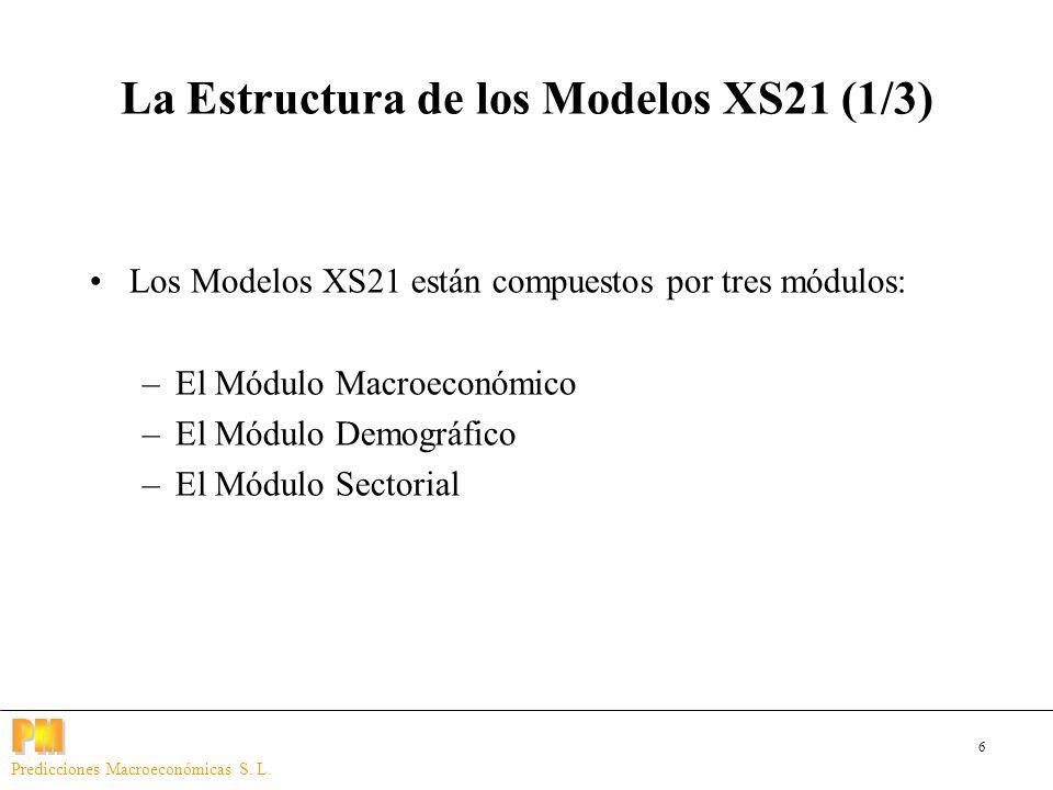6 Predicciones Macroeconómicas S. L. La Estructura de los Modelos XS21 (1/3) Los Modelos XS21 están compuestos por tres módulos: –El Módulo Macroeconó