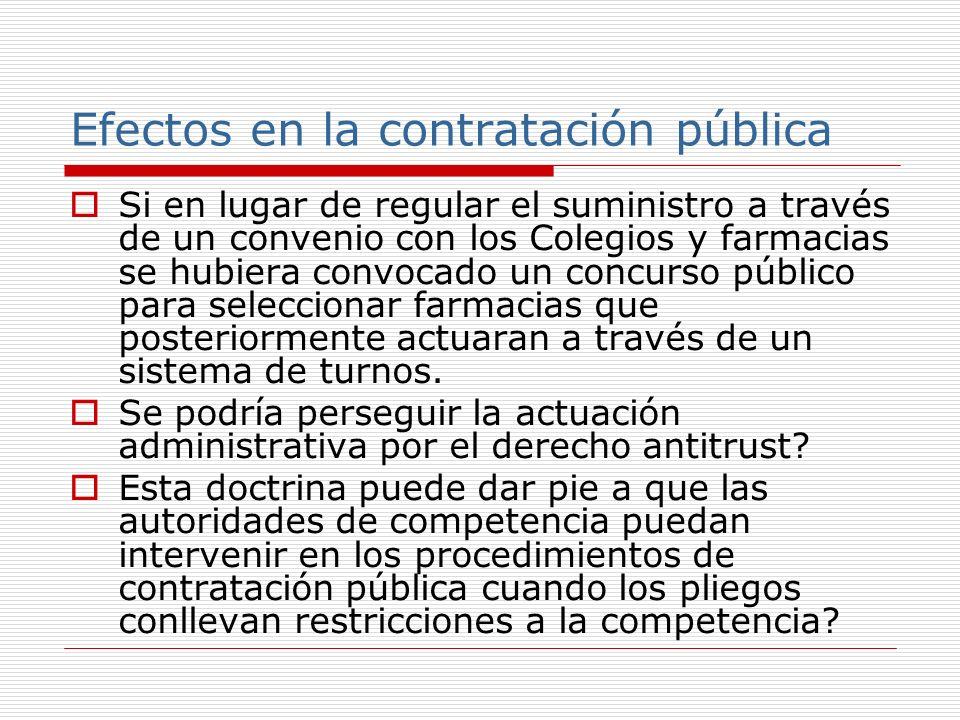 Efectos en la contratación pública Si en lugar de regular el suministro a través de un convenio con los Colegios y farmacias se hubiera convocado un concurso público para seleccionar farmacias que posteriormente actuaran a través de un sistema de turnos.