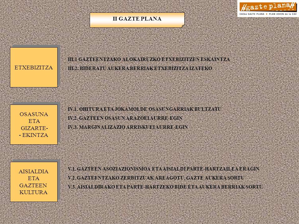 III.1 GAZTEENTZAKO ALOKAIRUZKO ETXEBIZITZEN ESKAINTZA III.2.