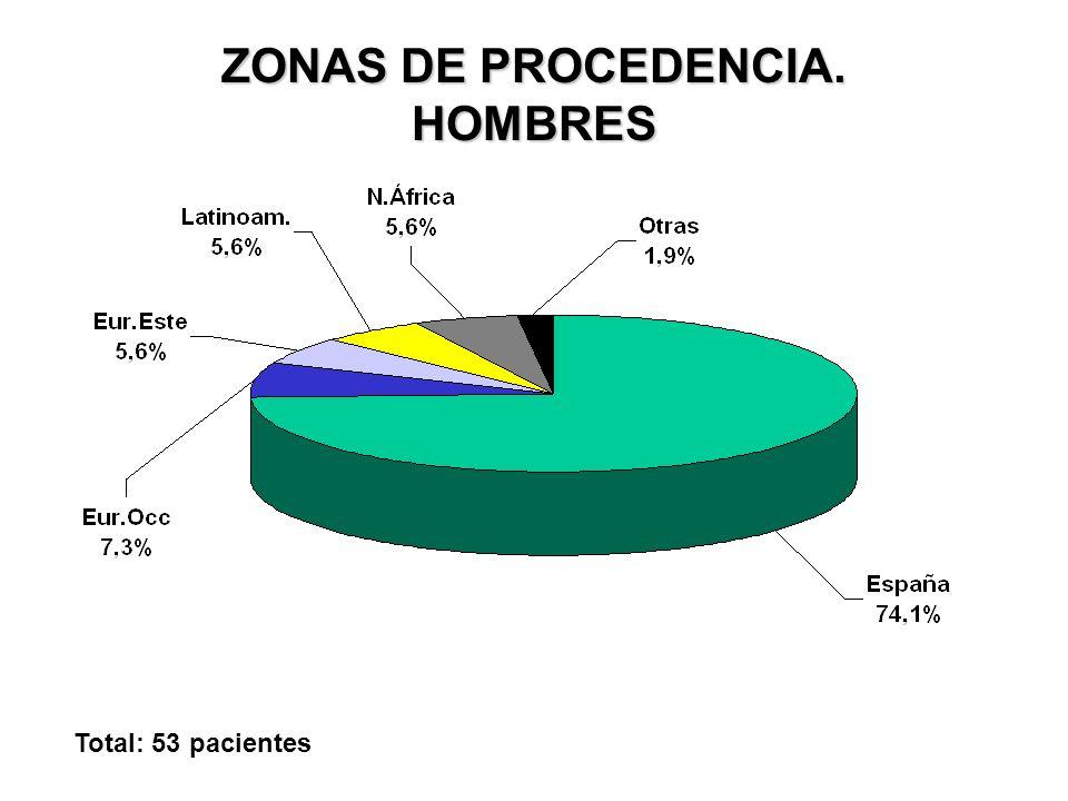 ZONAS DE PROCEDENCIA. HOMBRES Total: 53 pacientes