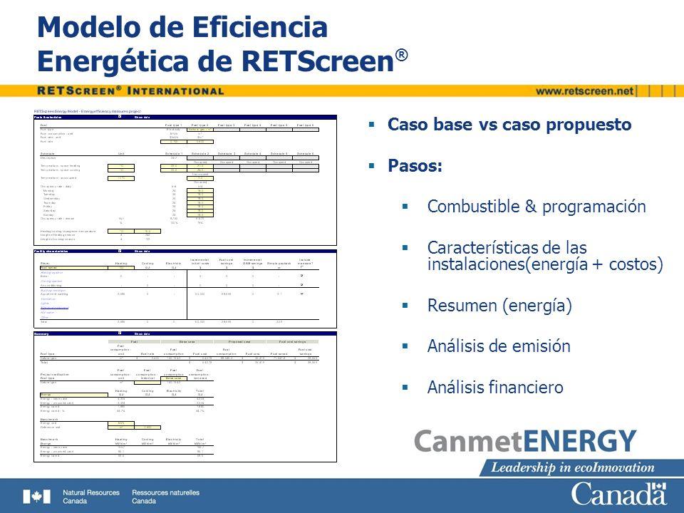 Modelo de Eficiencia Energética de RETScreen ® Caso base vs caso propuesto Pasos: Combustible & programación Características de las instalaciones(energía + costos) Resumen (energía) Análisis de emisión Análisis financiero