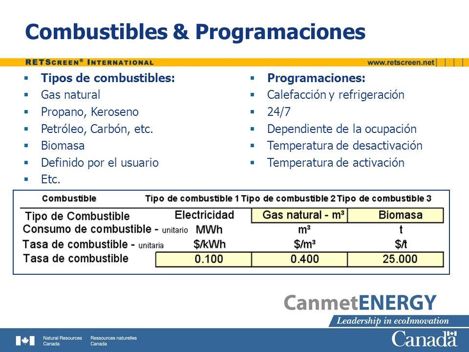 Combustibles & Programaciones Tipos de combustibles: Gas natural Propano, Keroseno Petróleo, Carbón, etc. Biomasa Definido por el usuario Etc. Program