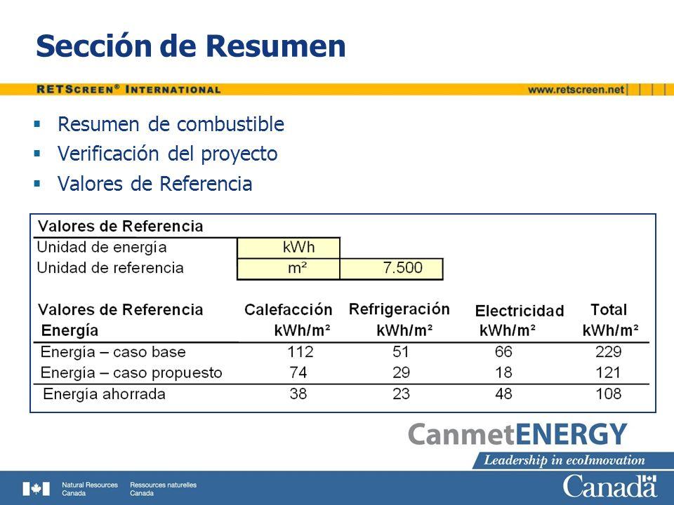 Sección de Resumen Resumen de combustible Verificación del proyecto Valores de Referencia