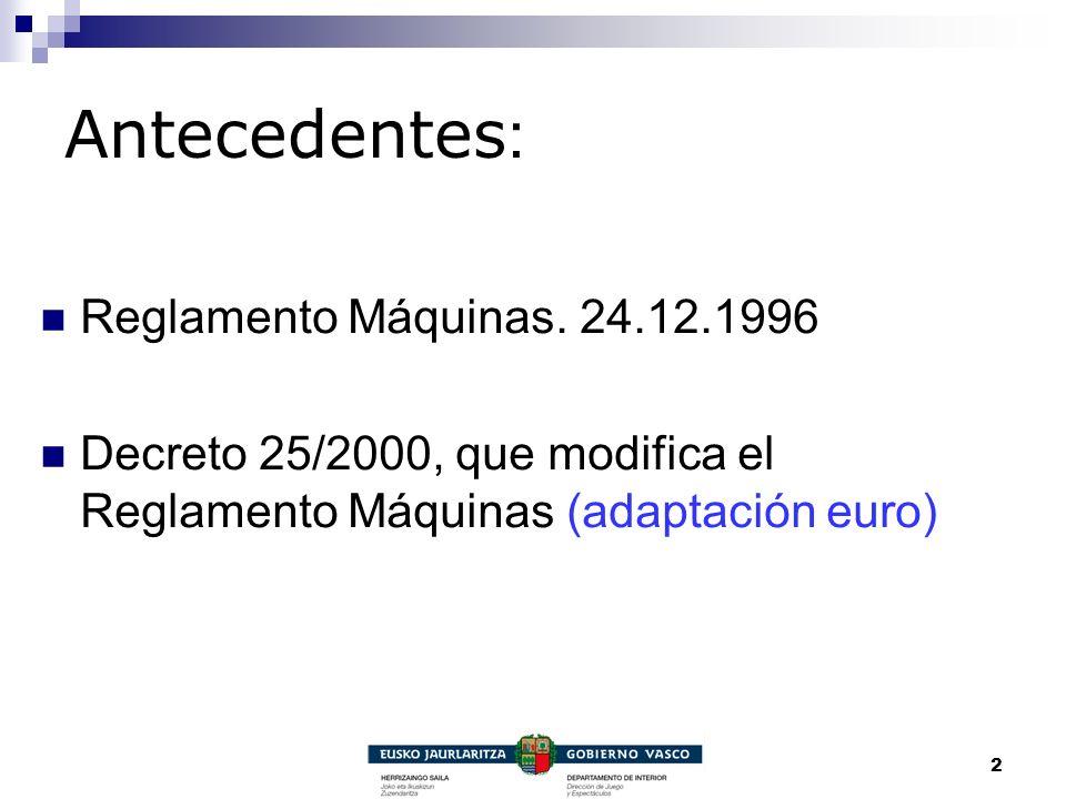 2 Antecedentes : Reglamento Máquinas. 24.12.1996 Decreto 25/2000, que modifica el Reglamento Máquinas (adaptación euro)