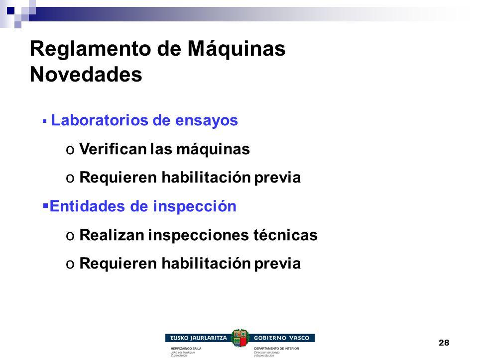 28 Reglamento de Máquinas Novedades Laboratorios de ensayos o Verifican las máquinas o Requieren habilitación previa Entidades de inspección o Realiza