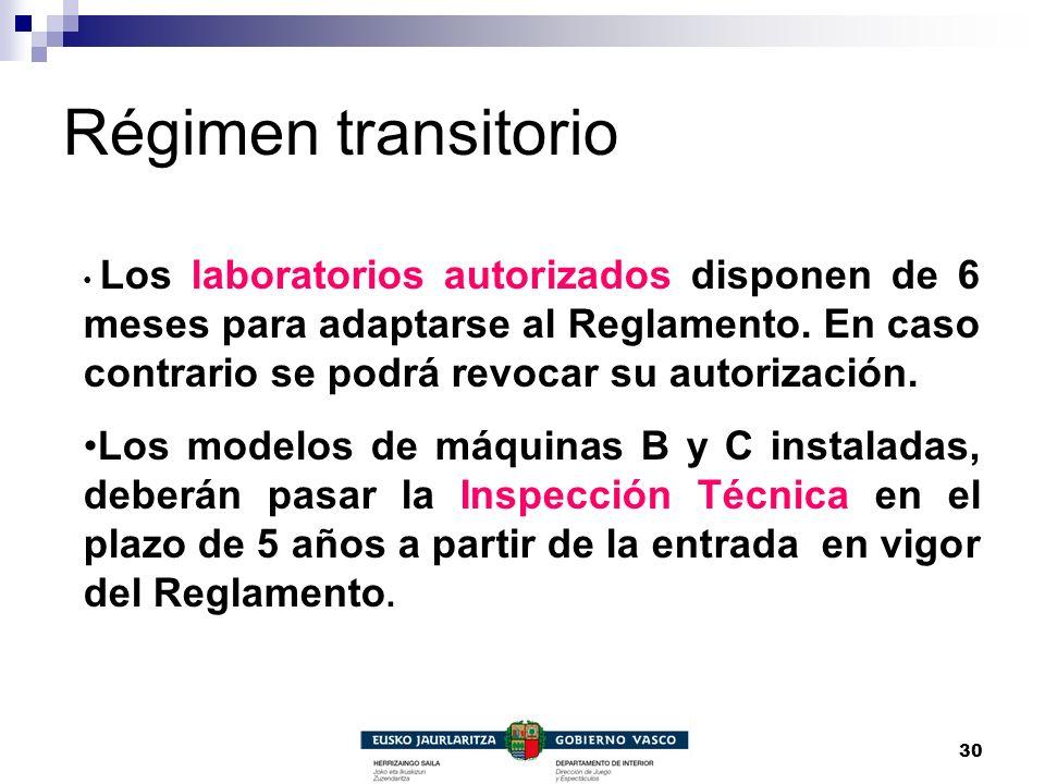 30 Régimen transitorio Los laboratorios autorizados disponen de 6 meses para adaptarse al Reglamento. En caso contrario se podrá revocar su autorizaci