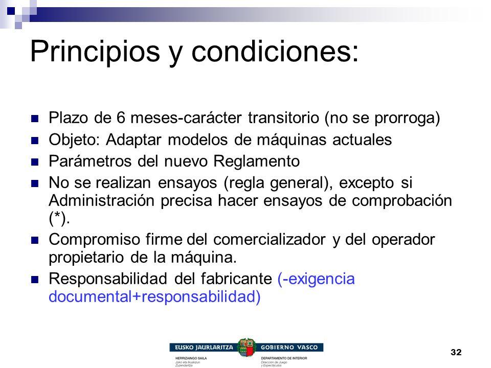 32 Principios y condiciones: Plazo de 6 meses-carácter transitorio (no se prorroga) Objeto: Adaptar modelos de máquinas actuales Parámetros del nuevo