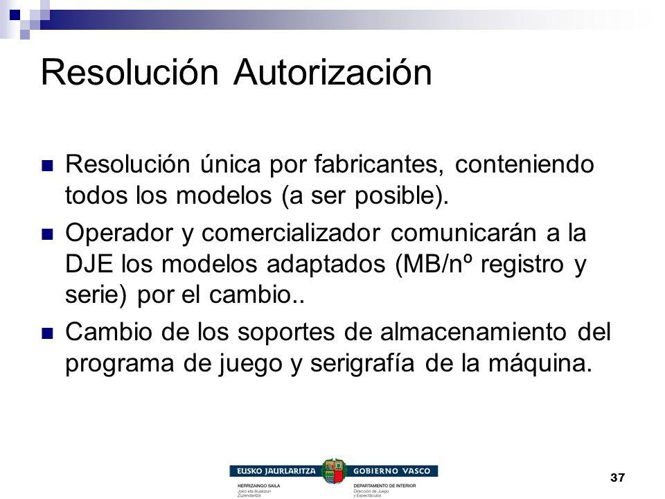 37 Resolución Autorización Resolución única por fabricantes, conteniendo todos los modelos (a ser posible). Operador y comercializador comunicarán a l