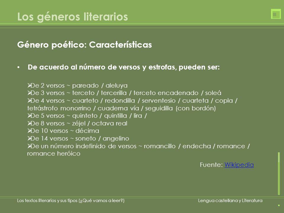 Los géneros literarios Género poético: Características De acuerdo al número de versos y estrofas, pueden ser: Los textos literarios y sus tipos (¿Qué