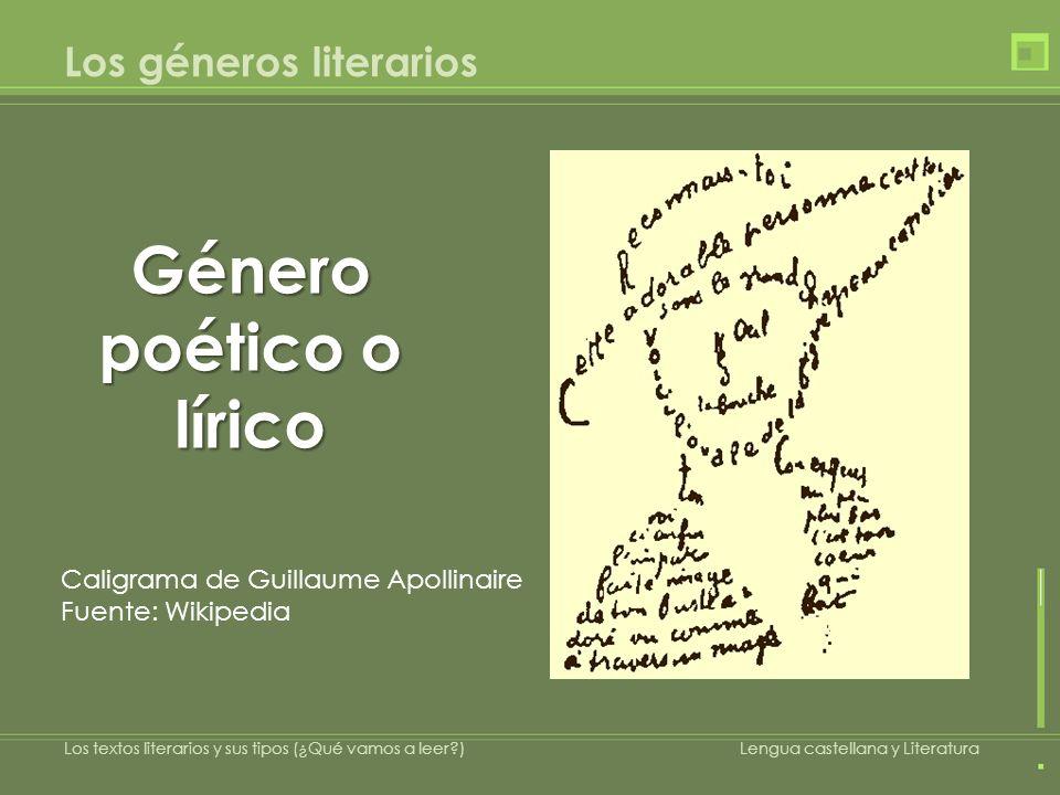 Los géneros literarios Caligrama de Guillaume Apollinaire Fuente: Wikipedia Género poético o lírico Los textos literarios y sus tipos (¿Qué vamos a le