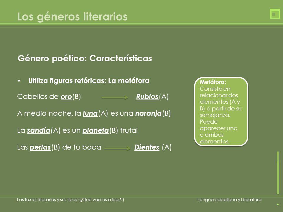 Los géneros literarios Género poético: Características Utiliza figuras retóricas: La metáfora Cabellos de oro (B) Rubios (A) A media noche, la luna (A