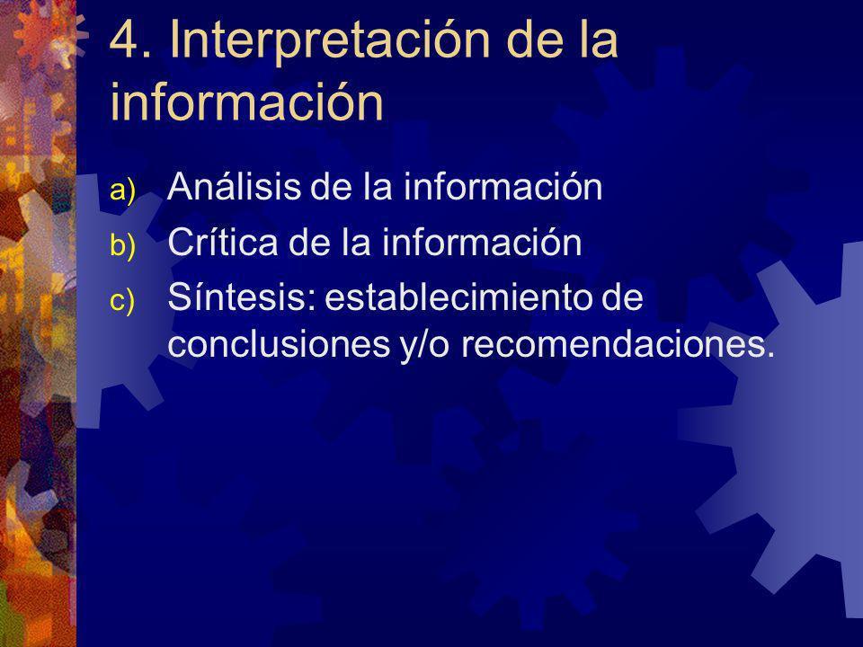 4. Interpretación de la información a) Análisis de la información b) Crítica de la información c) Síntesis: establecimiento de conclusiones y/o recome