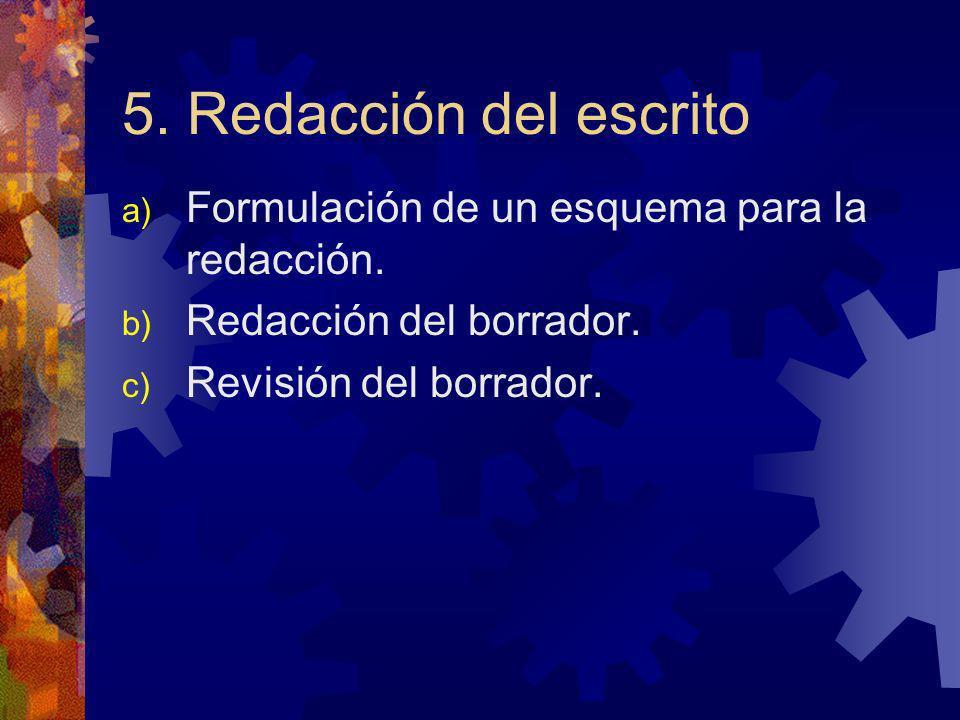 5. Redacción del escrito a) Formulación de un esquema para la redacción. b) Redacción del borrador. c) Revisión del borrador.