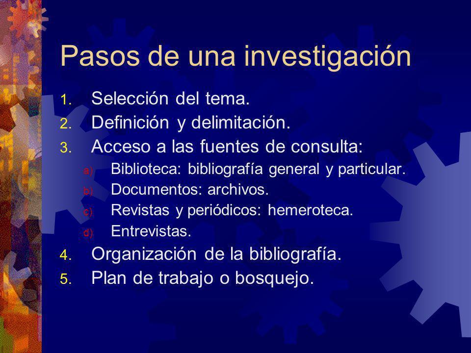Pasos de una investigación 1. Selección del tema. 2. Definición y delimitación. 3. Acceso a las fuentes de consulta: a) Biblioteca: bibliografía gener