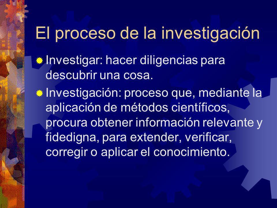 El proceso de la investigación Investigar: hacer diligencias para descubrir una cosa. Investigación: proceso que, mediante la aplicación de métodos ci