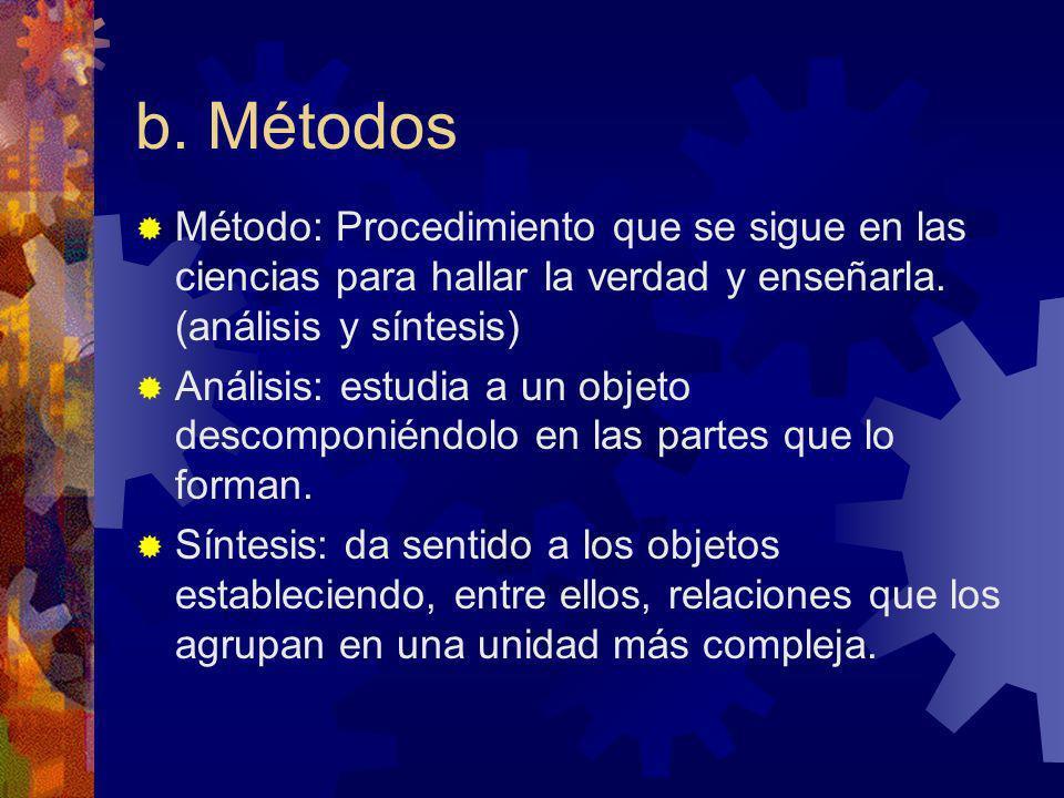 b. Métodos Método: Procedimiento que se sigue en las ciencias para hallar la verdad y enseñarla. (análisis y síntesis) Análisis: estudia a un objeto d